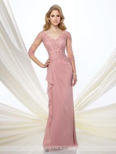 Formal Evening Gowns by Mon Cheri – Fall 2016 – Style No. 216965 – chiffon eveni… Formal Evening Gowns by Mon Cheri – Fall 2016 – Style No. 216965 – chiffon evening gown with illusion lace sleeves Mother Of The Bride Gown, Mother Of Groom Dresses, Mothers Dresses, Mob Dresses, Bridesmaid Dresses, Dresses With Sleeves, Wedding Dresses, Lace Sleeves, Dresses 2016