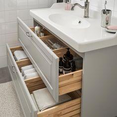 Ikea - godmorgon / rättviken sink cabinet with 2 drawers kasjön white. Ikea Bathroom Sinks, Bathroom Sink Cabinets, Mirror Cabinets, Bathroom Furniture, Small Bathroom, Bathroom Ideas, Rustic Furniture, Antique Furniture, Gold Bathroom