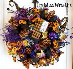 SALE175Deco Mesh Halloween Wreath Witch's Broom by LindaLeeWreaths