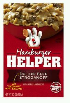 Hamburger Helper / Deluxe Beef Stroganoff (2-5.5oz Boxes) Dinner Kit. Hamburger Helper / Deluxe Beef Stroganoff (2-5.5oz Boxes) Dinner Kit Betty Crocker