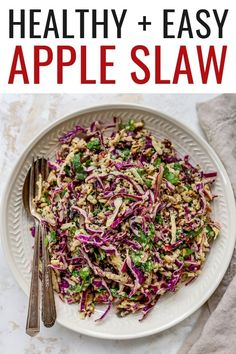 This easy apple slaw features red cabbage, spinach, quinoa and a creamy tahini dressing. It's such a healthy and unique twist on traditional coleslaw. Healthy Eating Recipes, Veg Recipes, Plant Based Recipes, Salad Recipes, Healthy Thanksgiving Recipes, Cooking Recipes, Real Food Recipes, Apple Slaw, Vegan Dinners