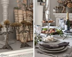 Bronze chandeliers decorated with dried moss and old sheet music rolled, plates, Maisons du Monde ', metal cutlery' Casa 'servant silver collection brewery in' Comptoir de Famille '