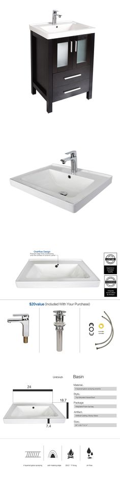 Pic Of Vanities Bathroom Vanity Cabinet Ceramic Porcelain Undermount Sink Faucet Drain Combo ue