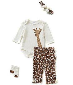 Starting Out Baby Girl Newborn-9 Months Giraffe-Appliqued 4-Piece Layette Set