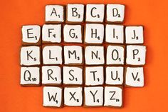 Edible Scrabble! I so want to try this. Gingerbread cookies cut into squares, iced and written on with edible marker. Cute!