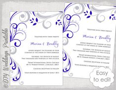 Printable wedding invitation template elegance royal blue word wedding invitation template silver gray and royal blue scroll invitations you edit invitations templates word digital instant download solutioingenieria Images