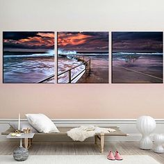 Stretched Canvas Art Landscape In The Evening The Coast Set of 3 - USD $ 69.99