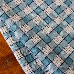 Hand Woven Kitchen Towel Handwoven Dishtowel Dish Chef Cotton Huck Lace Check Off White Blue Dusty Teal Turquoise by WovenTogetherCrafts on Etsy