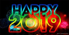 Wishing you happy near year 2019 rainbow colored happy 2019 new year Best New Year Wishes, Happy New Year Gif, Make Your Own Calendar, Bible Love, Cool Animations, Halloween Activities, Worksheets For Kids, Months In A Year, Learn To Read