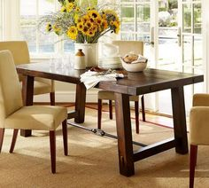 Ikea Dining Room Table and Chairs Product for You: Charming Ikea Dining Room Table And Chairs With Beige Armless Chairs Beige Carpets And Modern White Vases Yellow Flower Next To The Modern White Window Installations ~ surrealcoding.com Dining Room Inspiration