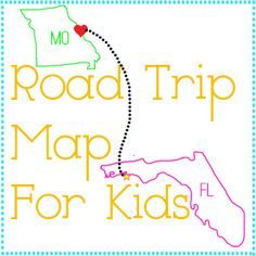 Entirely Emily: Road Trip Map for Kids Disney World Trip, Disney Vacations, Disney Trips, Vacation Trips, Vacation Ideas, Family Vacations, Dream Vacations, Road Trip With Kids, Family Road Trips