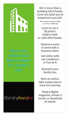 """Promote your library services with the new series of bookmarks by LibraryAware. Bold colors with simple graphics creates a fun look. Search """"colorful"""" in Bookmarks- 4 page to see the full series."""