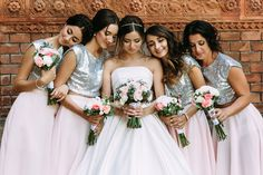 Bold, bright, and beautiful bridesmaids! Give your girls a touch of glitter with a silver top that will make them shine and stand out on your big day. Wedding Blog, Wedding Styles, Brides Maid Gown, Bride And Breakfast, Bridesmaid Dresses, Wedding Dresses, Bridesmaids, Luxury Wedding Venues, Wedding Locations