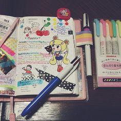 #hobonichi 01.14.12 #powerpuffkay #journal #diary #techo #planner #cute #kawaii #sailormoon @hellocavities #babygirl #doodle #drawing #cherries #decotape #pens #markers #colorful #spottiedottie