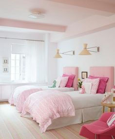 Painted ceiling: Love the soft pink and accessories.  Perfect example of adding colour and keeping a theme without making the room dark or overwhelming.