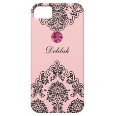 Damask monogram iPhone 5 cases with black damask pattern and pink ice jewel bling printed on the case and a lot of style to carry your cell phone. Designed for women or girls and will protect your phone in a stylish way. Colors include pink and black