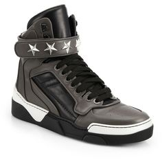 Givenchy Tyson Leather High-Top Sneakers : Givenchy Shoes (109255 RSD) ❤ liked on Polyvore featuring men's fashion, men's shoes, men's sneakers, apparel & accessories and grey