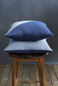 'Lane x London Cloth' Indigo Cotton Cushion. £76.00