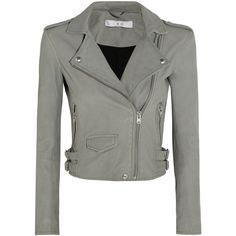 IRO Ashville cropped leather biker jacket ($495) ❤ liked on Polyvore featuring outerwear, jackets, coats & jackets, coats, leather jackets, grey, cropped biker jacket, gray leather jackets, real leather jackets and rider leather jacket