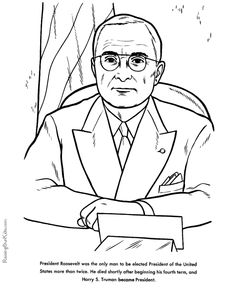 free printable president harry s truman facts and coloring picture