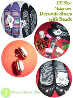 Decorate Shoes with Beads Decorate Shoes, Beaded Shoes, Frugal Family, Diy And Crafts, Crafty, Beads, Presents, Handmade, Passion