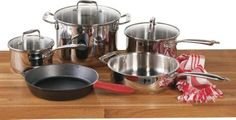 Lodge Stainless Steel with Cast Iron Eight-Piece Cookware Set