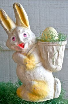 Vintage paper mache rabbits. Candy containers from the 1920s-1950s.  I still one similar to this and my Easter basket from 1954.