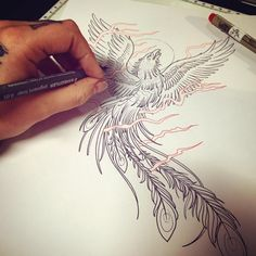 Phoenix Tattoo design by Laura Underskin Confidence Tattoo, Phoenix Tattoo Design, Dragon Artwork, Chinese Dragon, Drawing Ideas, Watercolor Tattoo, Tatting, Tattoo Designs, Drawings