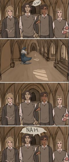 """Jk Rowling: """"dumbledore is rollerblading in every scene. He rollerblades everywhere and hasn't walked in 30 years. It is never mentioned because it wasn't relevant to Harry's journey"""" art by http://wizardmiva.tumblr.com/"""