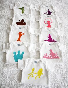 I am going to make a couple of these as part of my gift to Shannon. Little onsies with storybook silhouettes. Cute right?
