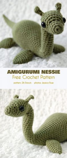 Amigurumi Nessie Free Crochet Pattern Nessie is a beautiful critter that gives its namesake a sweet and cuddly demeanor. Its made in rounds has four flippers and a long tail and will definitely be a favorite with any young monster explorer. Crochet Amigurumi Free Patterns, Crochet Animal Patterns, Stuffed Animal Patterns, Crochet Animals, Knitting Patterns, Crochet Dinosaur Pattern Free, Crochet Appliques, Blanket Patterns, Doll Patterns