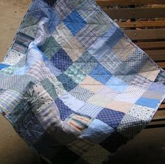 Baby Boy Quilt Shades of Blue Patchwork by sewinsy on Etsy