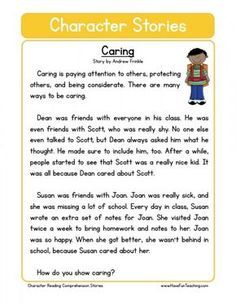 This Reading Comprehension Worksheet - Caring is for teaching reading comprehension. Use this reading comprehension story to teach reading comprehension. First Grade Reading Comprehension, Reading Comprehension Worksheets, Reading Fluency, Reading Passages, Teaching Reading, Reading Stories, Learning, English Stories For Kids, Moral Stories For Kids