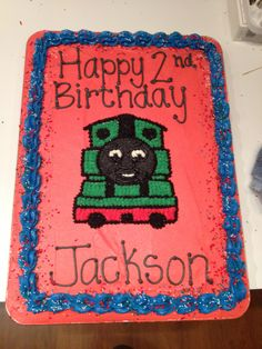 Percy the train 1/2 sheet cake.
