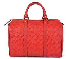 Gucci Women's Red Leather GG Guccissima Boston Satchel Purse - Handbag