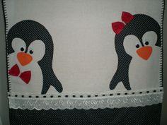 Pano de prato com patch aplique com casal de pinguins ou somente 1 R$ 27,00