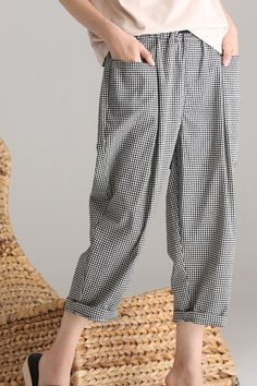 Casual Plus Size Drawstring Plaid Cotton. Casual Plus Size Drawstring Plaid Cotton Linen Pants Women Trousers Corduroy Pants Women, Linen Pants Women, Trousers Women, Pants For Women, Linen Pants Outfit, Black Linen Pants, Linen Trousers, Salwar Pants, Blouse Batik