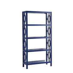 Tall bookcase in shiny blue finish. Love it, just don't know where I would use it!
