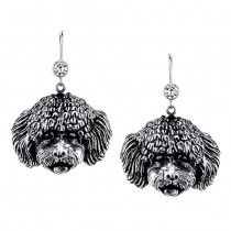 BICHON EARRINGS ER-41  | These earrings are available in all breeds! | Retail Price: $99.95 | 925 Sterling Silver | Each earring has a small bezel set CZ on top of the dog bead. Please note that these earrings can be special ordered in 10k, 14k or 18k gold. Hand-crafted in the USA, Available at ANDREW GALLAGHER JEWELERS, Newark, DE 302-368-3380. We Ship!