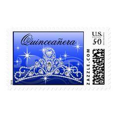 Quinceanera Diamond Tiara royal blue Postage