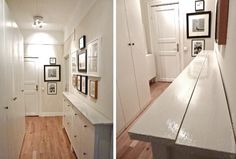 2 slim IKEA HEMNES shoe cabinets, pushed together and topped with new 2x4s. Good narrow-hallway solution!