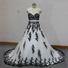 >> Click to Buy << White and Black Wedding Dress Sweetheart Appliques Lace A Line Classic Design Bridal Gown vestido de noiva Custom Size #Affiliate