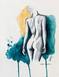 Nude Woman, Original Watercolor Painting, Female Figure Sketch, Bedroom Art, Naked, Bathroom Decor, Minimalist Modern Art, Pen and Ink. by NiksPaintGallery on Etsy