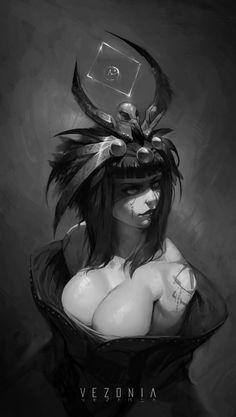 Shamanka by VezoniaArtz on DeviantArt Warhammer 40000, Detailed Image, Great Britain, Monochrome, Fantasy Art, Witch, Joker, Fan Art, Animation