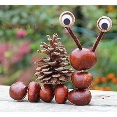 Chestnuts and Co. - Fall decorations with chestnuts .-Kastanienmännchen und Co. – Herbstdeko basteln mit Kastanien und Nüssen Chestnut man – autumn decoration tinker with chestnut – snail - Easy Crafts For Kids, Diy For Kids, Diy And Crafts, Arts And Crafts, Creative Crafts, Easy Knitting Projects, Knitting For Kids, Autumn Crafts, Nature Crafts