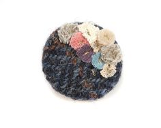 Dark Blue Harris Tweed Brooch embellished by LouiseDawsonDesign, £8.00