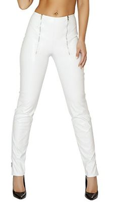 bf5b9384d66ef Roma Women's Leatherette Pants with Double Zip Front and Zip Up Cuffs, White,  Small at Amazon Women's Clothing store: