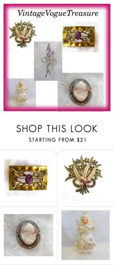 """""""VintageVogueTreasure"""" by vintagevoguetreasure ❤ liked on Polyvore featuring vintage, jewelry and etsyshop"""