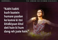 Here the list of 14 Yeh Jawaani Hai Deewani dialogues you should check out. Amazing Yeh Jawaani Hai Deewani quotes to remember. Movie Quotes, True Quotes, Yjhd Quotes, Bollywood Love Quotes, Dear Zindagi Quotes, Meaningful Quotes, Inspirational Quotes, Filmy Quotes, Mixed Feelings Quotes