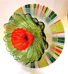 glass art flower glass plate flower yard art glass flower